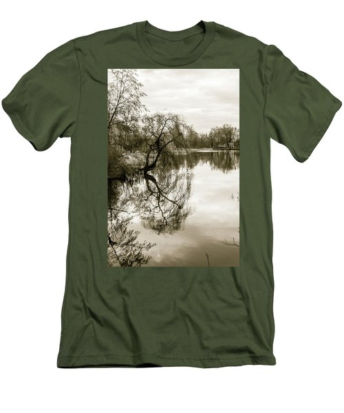 Weeping Willow Tree In The Winter Men's T-Shirt (Athletic Fit)