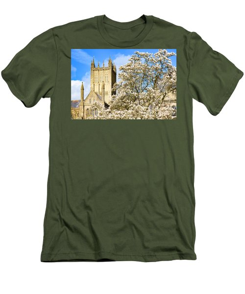 Wells Cathedral And Spring Blossom Men's T-Shirt (Athletic Fit)
