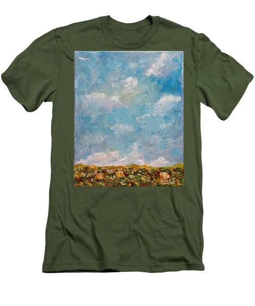 Men's T-Shirt (Athletic Fit) featuring the painting West Field Seedlings by Judith Rhue