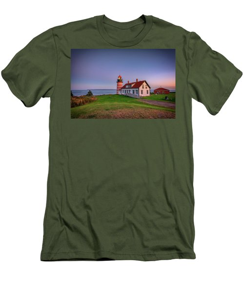 Men's T-Shirt (Athletic Fit) featuring the photograph West Quoddy Head Light At Dusk by Rick Berk