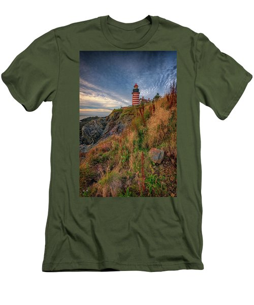Men's T-Shirt (Athletic Fit) featuring the photograph West Quoddy Head Lighthouse by Rick Berk