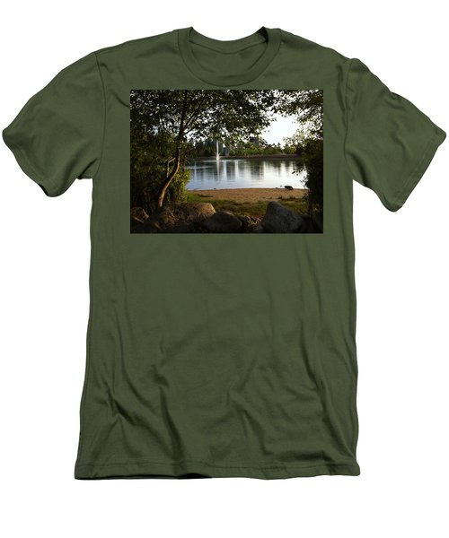 West View Of Lafarge Lake Men's T-Shirt (Slim Fit) by Rod Jellison