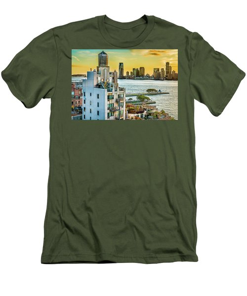 Men's T-Shirt (Slim Fit) featuring the photograph West Village To Jersey City Sunset by Chris Lord