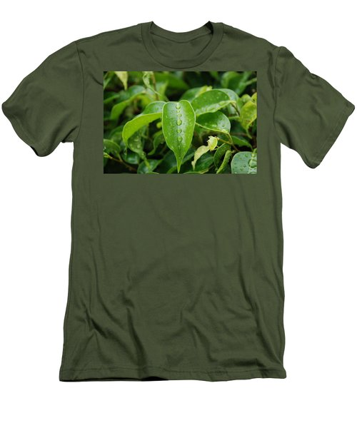 Men's T-Shirt (Slim Fit) featuring the photograph Wet Bushes by Rob Hans