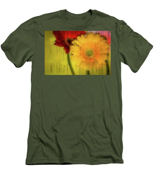 Wet Glass Flowers Men's T-Shirt (Athletic Fit)