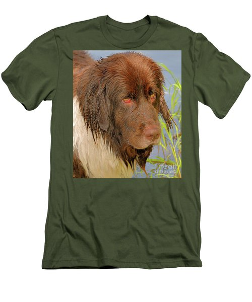 Men's T-Shirt (Athletic Fit) featuring the photograph Wet Newfie by Debbie Stahre