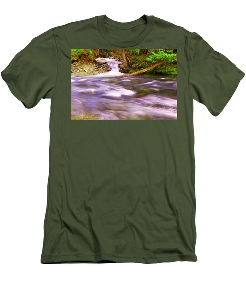 Men's T-Shirt (Slim Fit) featuring the photograph Where The Stream Meets The River by Jeff Swan