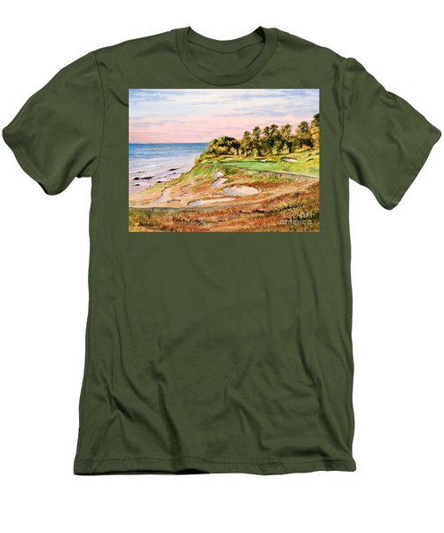 Men's T-Shirt (Athletic Fit) featuring the painting Whistling Straits Golf Course 17th Hole by Bill Holkham