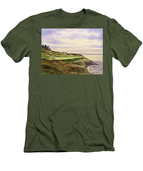 Whistling Straits Golf Course Hole 7 Men's T-Shirt (Slim Fit) by Bill Holkham