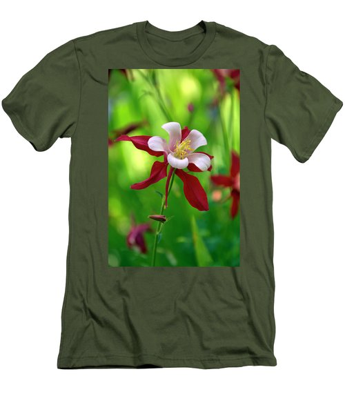 White And Red Columbine  Men's T-Shirt (Slim Fit) by James Steele