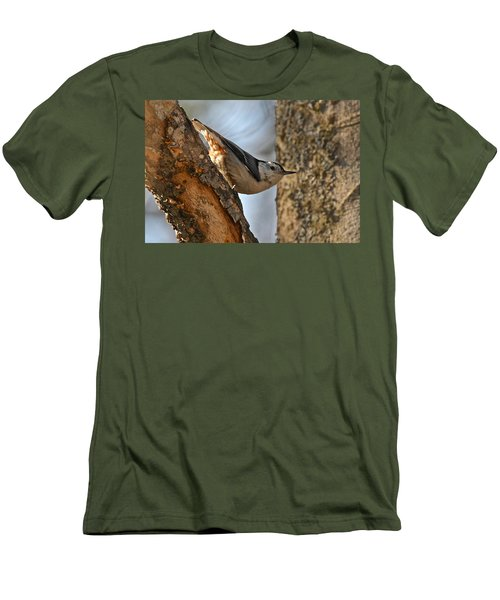 White Breasted Nuthatch 370 Men's T-Shirt (Slim Fit) by Michael Peychich