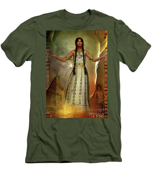 Men's T-Shirt (Slim Fit) featuring the digital art White Buffalo Calf Woman by Shadowlea Is