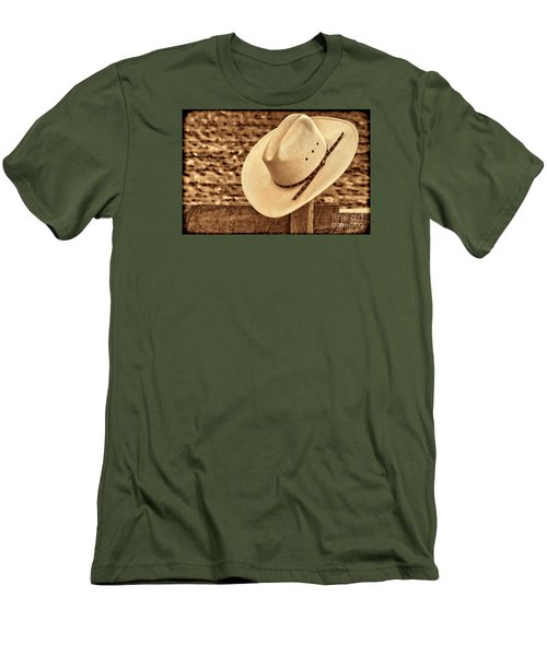 White Cowboy Hat On Fence Men's T-Shirt (Slim Fit) by American West Legend By Olivier Le Queinec