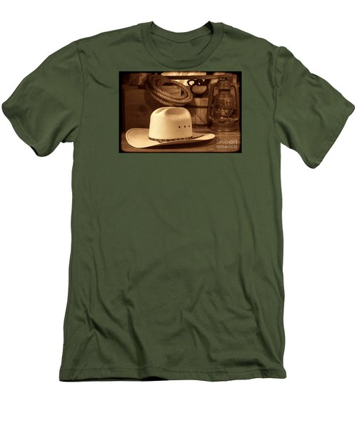 White Cowboy Hat On Workbench Men's T-Shirt (Slim Fit) by American West Legend By Olivier Le Queinec