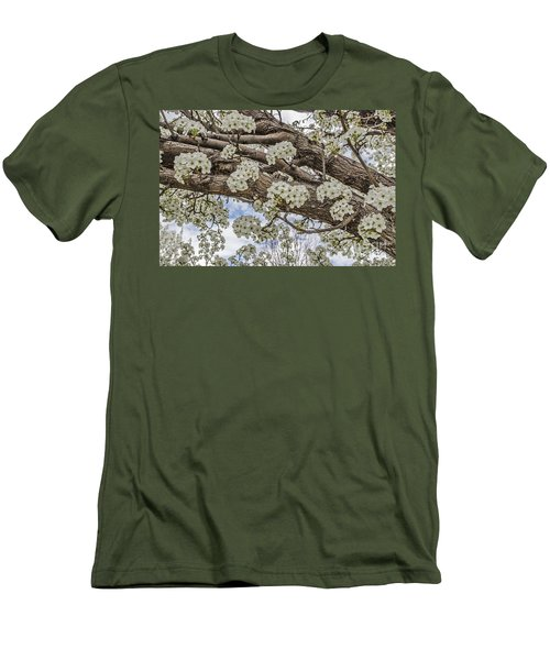 Men's T-Shirt (Slim Fit) featuring the photograph White Crabapple Blossoms by Sue Smith