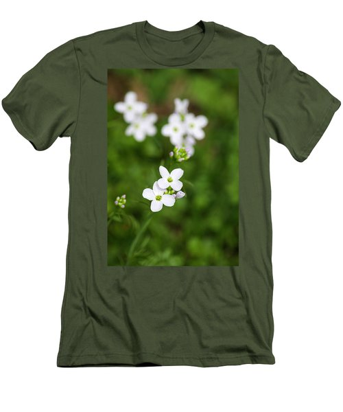 White Cuckoo Flowers Men's T-Shirt (Athletic Fit)