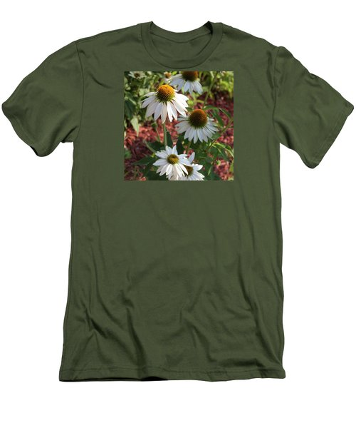 White Echinacea Men's T-Shirt (Slim Fit) by Suzanne Gaff