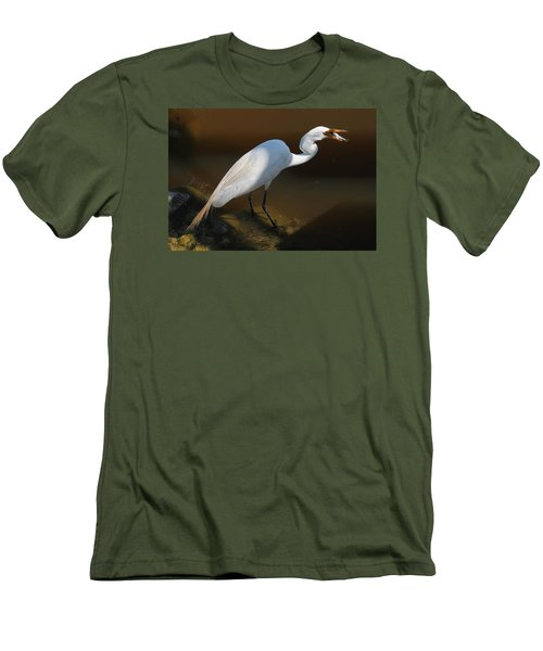 White Egret Fishing For Midday Meal II Men's T-Shirt (Slim Fit) by Suzanne Gaff