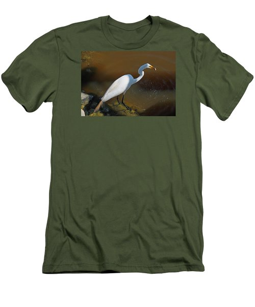 White Egret Fishing For Midday Meal Men's T-Shirt (Slim Fit) by Suzanne Gaff
