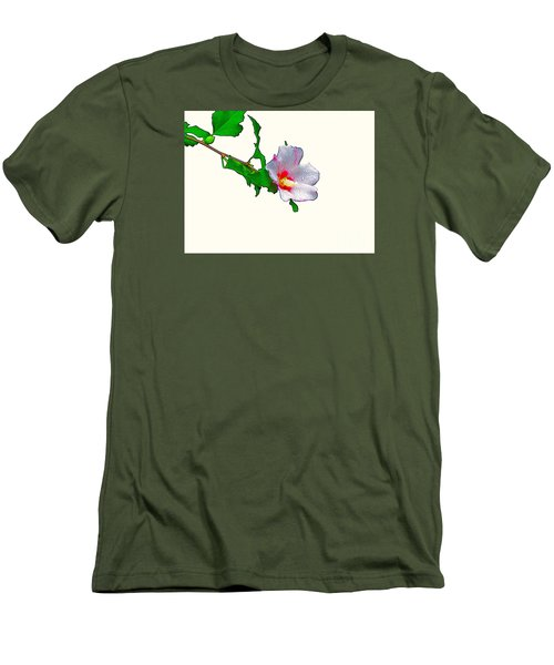White Flower And Leaves Men's T-Shirt (Slim Fit) by Craig Walters