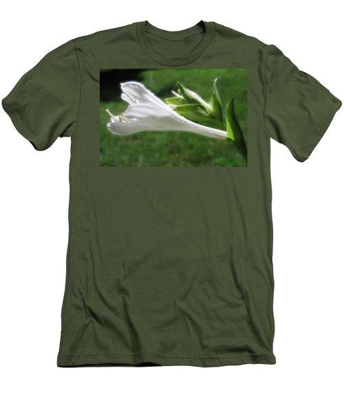 Men's T-Shirt (Slim Fit) featuring the photograph White Hosta Flower 46 by Maciek Froncisz