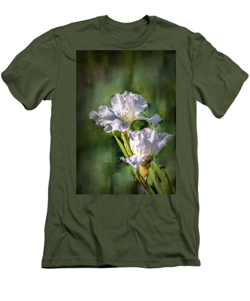 White Iris On Abstract Background #g4 Men's T-Shirt (Slim Fit)