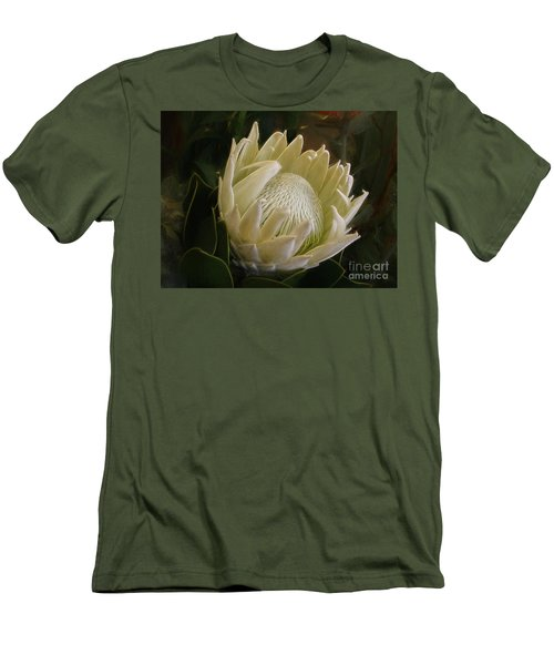 Men's T-Shirt (Athletic Fit) featuring the photograph White King Protea By Kaye Menner by Kaye Menner
