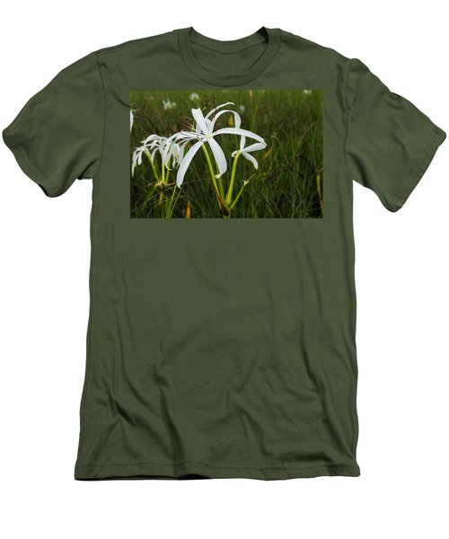 White Lilies In Bloom Men's T-Shirt (Slim Fit) by Christopher L Thomley