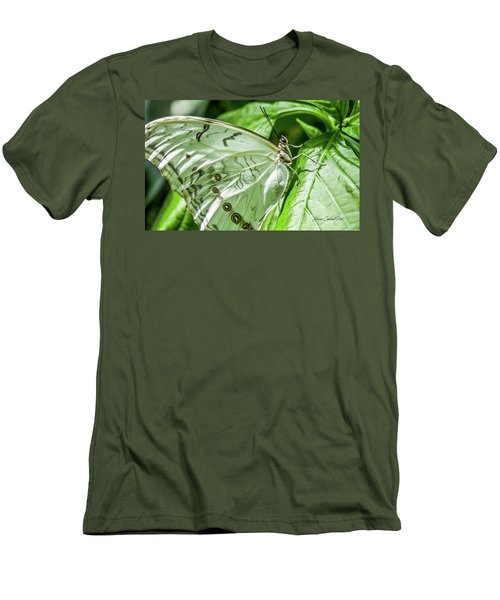 Men's T-Shirt (Slim Fit) featuring the photograph White Morpho Butterfly by Joann Copeland-Paul