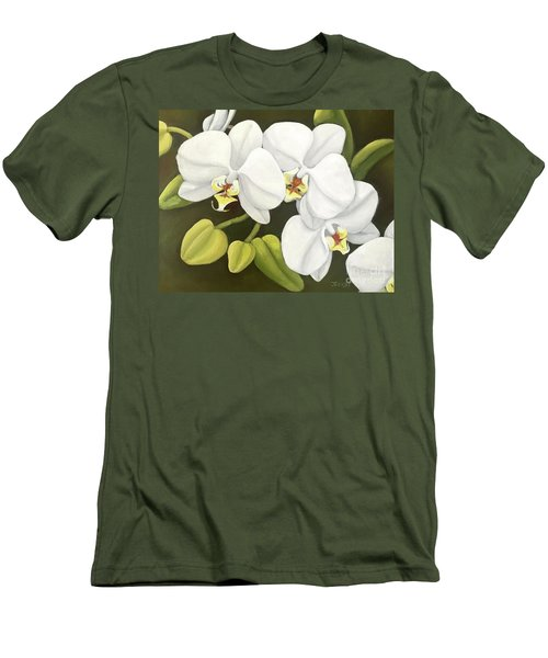 White Orchid Men's T-Shirt (Slim Fit) by Inese Poga