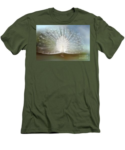 Men's T-Shirt (Slim Fit) featuring the photograph White Peacock In All His Glory by Bonnie Barry