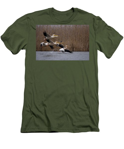 White Pelicans In Flight Over Lake Men's T-Shirt (Athletic Fit)