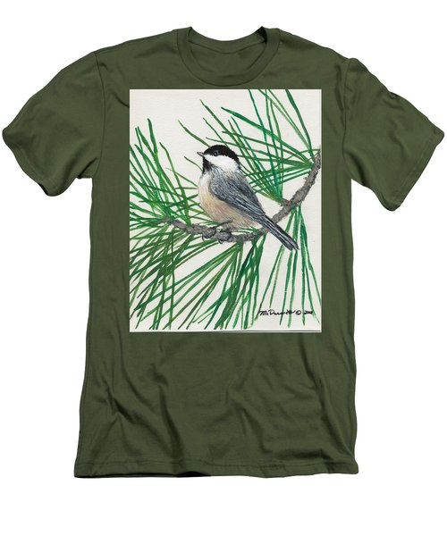 Men's T-Shirt (Slim Fit) featuring the painting White Pine Chickadee by Kathleen McDermott