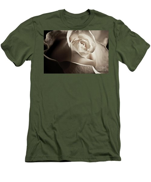 White Rose In Sepia 2 Men's T-Shirt (Slim Fit) by Micah May