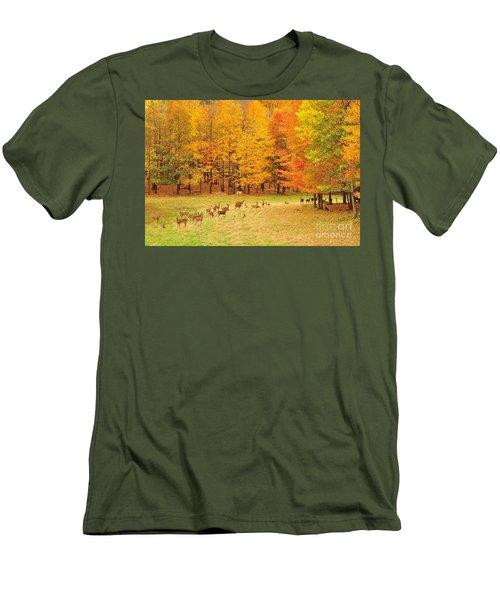 White Tail Deer Herd Men's T-Shirt (Slim Fit) by Terri Gostola