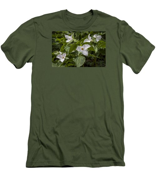 Men's T-Shirt (Slim Fit) featuring the photograph White Trillium by Tyson and Kathy Smith