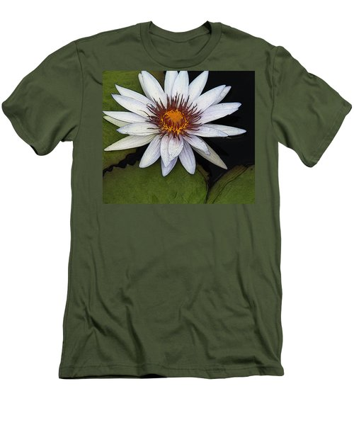 White Water Lily Men's T-Shirt (Slim Fit) by Yvonne Wright