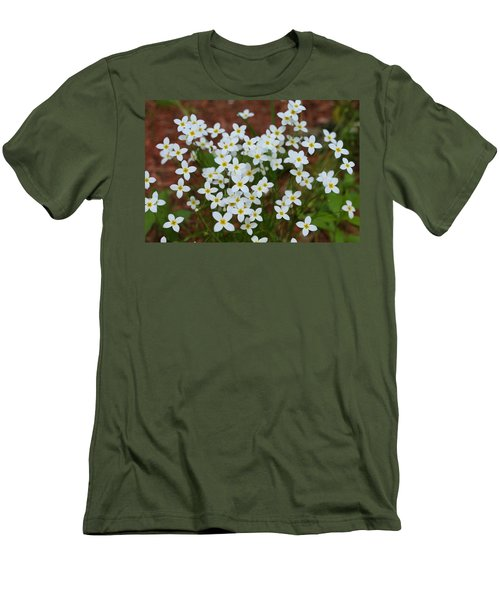 Men's T-Shirt (Slim Fit) featuring the digital art White Wildflowers by Barbara S Nickerson