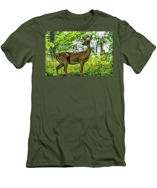 Men's T-Shirt (Slim Fit) featuring the photograph Whitetail Deer  by Thomas R Fletcher
