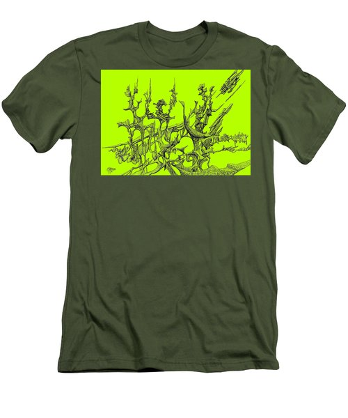 Whooshh -  Lime Background Men's T-Shirt (Athletic Fit)