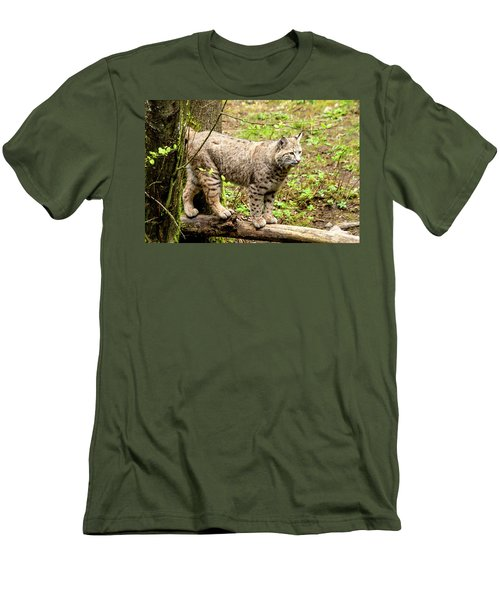 Wild Bobcat Men's T-Shirt (Slim Fit) by Teri Virbickis