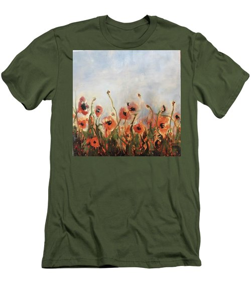 Wild Corn Poppies Underpainting Men's T-Shirt (Athletic Fit)
