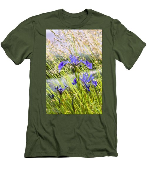 Wild Irises Men's T-Shirt (Slim Fit) by Marty Saccone