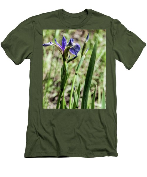 Men's T-Shirt (Slim Fit) featuring the photograph Wild Maine Iris by Daniel Hebard