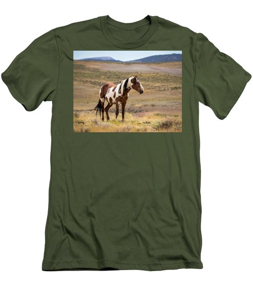 Wild Mustang Stallion Picasso Of Sand Wash Basin Men's T-Shirt (Slim Fit)