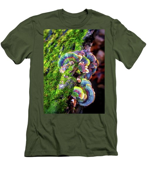 Men's T-Shirt (Slim Fit) featuring the photograph Wild Striped Mushroom Growing On Tree - Paradise Springs - Kettle Moraine State Forest by Jennifer Rondinelli Reilly - Fine Art Photography
