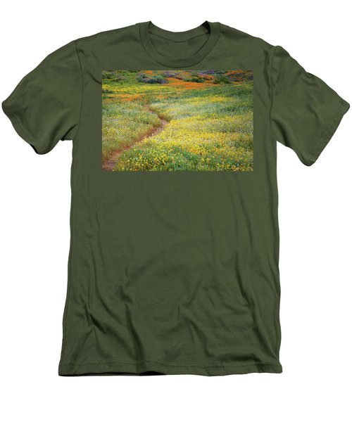Men's T-Shirt (Slim Fit) featuring the photograph Wildflower Field Near Diamond Lake In California by Jetson Nguyen