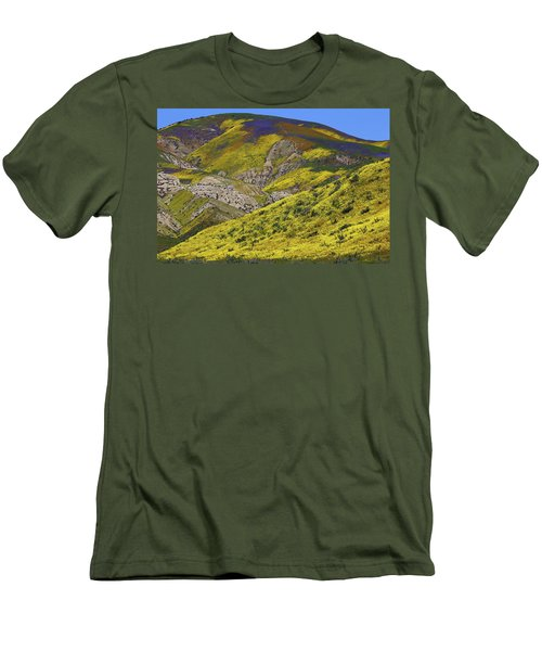 Wildflowers Galore At Carrizo Plain National Monument In California Men's T-Shirt (Slim Fit) by Jetson Nguyen