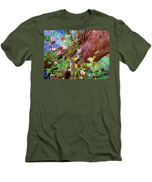 Wildflowers On A Cypress Knee Men's T-Shirt (Athletic Fit)