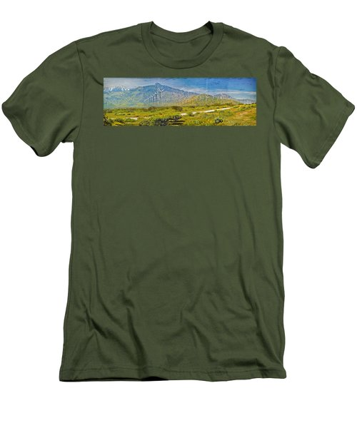 Men's T-Shirt (Slim Fit) featuring the photograph Wind Turbine Farm Palm Springs Ca by David Zanzinger